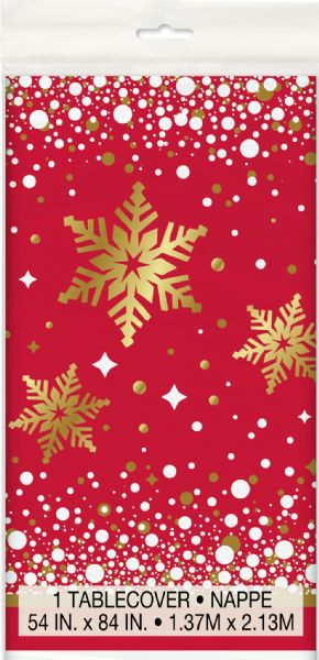 Gold Sparkle Christmas Plastic Table Cover